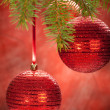 Red balls- christmas decoration — Stok fotoğraf