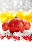 Christmas decoration - red balls — Stock Photo