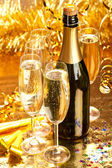 Champagne - bottle and glasses — Stock Photo