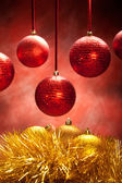 Gold and red baubles — Stock Photo