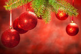 Christmas decoration - red baubles — Stock Photo