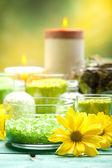 Bath salt, flowers and candles — Stock Photo