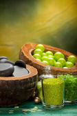 Green balls - bath salt and spa stones — Stock Photo