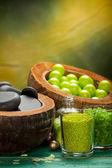 Green balls - bath salt and spa stones — Stock Photo