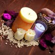Aromatherapy - bath salt and candles — Stock Photo