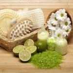 Spa supplies - bath salt and massage tools — Stock Photo