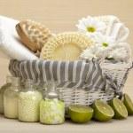 Spa - massage tools and bath salt — Stock Photo