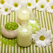 Aromatherapy - Flowers and bath salt — Stock Photo
