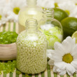 Aromatherapy - Flowers and lime bath salt — Stock Photo