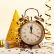 Stock Photo: Clock and party decorations