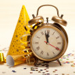 Stock Photo: Midnight - clock face and decorations