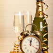 Happy new year - champagne and party decoration - Stok fotoraf