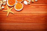 Aromatherapy background - bath salt, sea shell, starfish and sto — Stock Photo