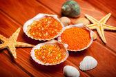 Aromatherapy - bath salt and shell — Stock Photo