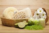 Spa treatment - bath salt and massage tools — Stock Photo