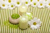 Aromatherapy - Flowers and bath salt — Stock Photo