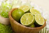 Aromatherapy - lime bath salt — Stock Photo