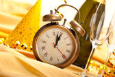 Midnight - clock face and decorations — Stock Photo