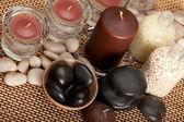 Spa - stones, candles and bath-salt — Stock Photo