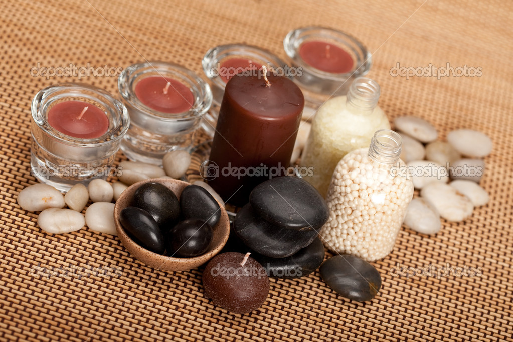 Spa equipment - bath salt and stones — Stock Photo #6559658