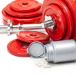 Stock Photo: Body building - dumbbells and dietary supplements