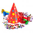 Party decoration - caps, confetti and streamers - Stock Photo