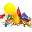 Party caps, confetti and streamers — Stock Photo