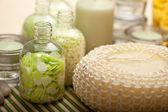 Massagee equipment and bath salt — Stock Photo