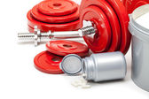Body building - dumbbells and dietary supplements — Stockfoto