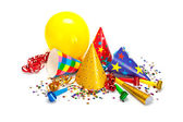 Party caps, confetti and streamers — Stockfoto