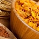 Corn flakes, cocoa and wheats — Stock Photo #6571490