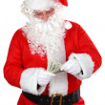 Santa with cash — Stock Photo