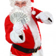 Santa Claus with Cash — Stock Photo