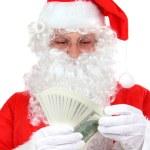 Santa Claus & cash - close up — Stock Photo