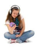 Teen listening music — Stock Photo