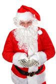 Santa with dollars — Stockfoto