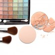 Make up - brushes and eye shadows palette — Stock Photo #6657977