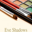 Make up brushes and eye shadows palette — Stok fotoğraf