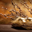 Easter eggs in the nest and catkin - Stock Photo