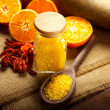 Orange Aromatherapy - bath salt and fruits — Stock Photo