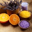 Stock Photo: Aromatherapy - Orange and lavender minerals