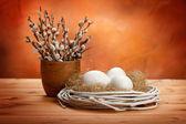 Amento e pasqua uova — Foto Stock