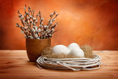 Catkin and easter eggs — Stock Photo