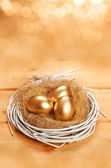 Golden eggs in white nest — Stock Photo