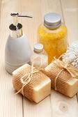 Bath accessories - soap and bath salt — Stock Photo