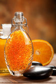 Orange Aromatherapy - bath salt and fruits — Stock Photo