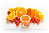 Orange - fruits and bath salt — Stock Photo
