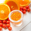 Ripe orange and bath salt for Spa — Stock Photo