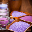 Body care treatment - lavender minerals — Stock Photo