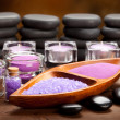 Spa and wellness - aromatherapy minerals and hot stones - Stock Photo